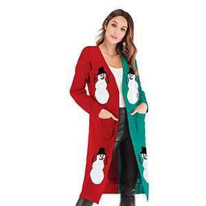 Womens Casual Open Front Cardigans Loose Long Sleeved Breathable Outwear Christmas Sweater