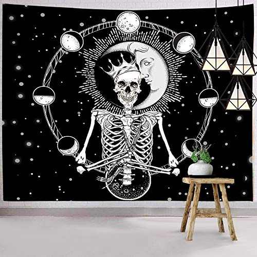 Hexagram Skull Tapestries Wall Tapestry Funny Skeleton Tapestry Wall Hanging Hippie Tapestry Trippy Psychedelic Sun Moon Phases Wall Art Black And White For Room Dorm Halloween Decorations