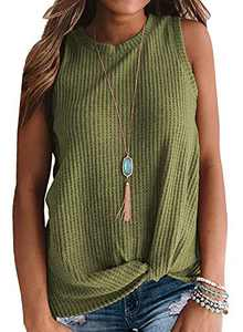 OWIN Women's Summer Casual Sleeveless Top Cute Waffle Knit Tank Tops Twist Knot Blouse Shirts Army Green S