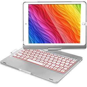 iPad Keyboard Case for iPad 6th Gen 2018, iPad 5th Gen 2017, iPad Pro 9.7, iPad Air 2, iPad Air 1, 360 Screen Rotation 7 Colors Backlight iPad Case with Keyboard - Silver