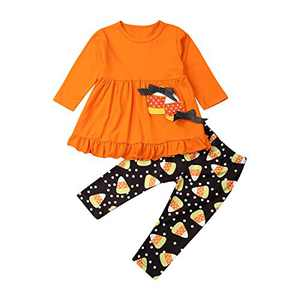 Toddler Little Girls Ruffle Flare Tunic Dress Top Striped Leggings Pants 2PC Fall Winter Outfit Set Clothes (12-18M, Orange+Bowknot)