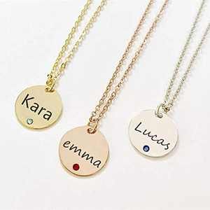Personalized Initial Name Necklace, Sterling Silver Birthstone Engraved Necklace Round Discs Pendant Family Jewelry for Mom, Friend