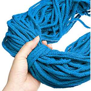 GEMITTO Macrame Cord 5mm 98YD 8-Strands Natural Macrame Cotton Rope, Soft Cotton Cord Craft Knitting Braiding Thread, for Wall Hanging Tapestry Decor, Plant Flower Pot Hangers (Blue)