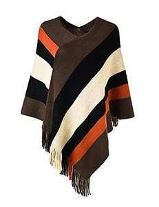 Women's Elegant Knit Sweater Cloak Poncho Top Stripe Fringe Cape Shawl Orange Plus