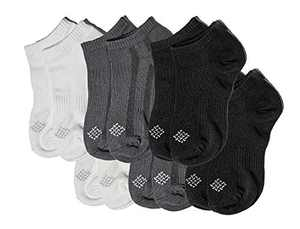 Sheebo Moisture Control Athletic Ankle Socks with Bamboo fabric Material for Men and Women, 6 Pairs (Black, Gray, White, Large)