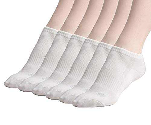 Sheebo Moisture Control Athletic Ankle Socks with Bamboo fabric Material for Men and Women, 6 Pairs (White, Large)