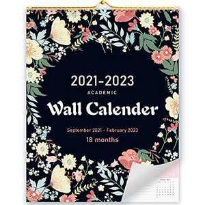 "2021-2022 Calendar, 18 Monthly Wall Calendar 2021-2022, 14"" x 11"", Large Wall Calendar with Julian Dates, Thick Paper, Flower Background Pattern, Sep. 2021 - Feb. 2023"