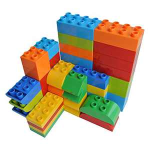 YHW CMKidz Large Building Bricks 50 Pieces Set, 8 Classic Shapes, Compatible with All Major Brands, for Toddler, Kids, Multiple Colors