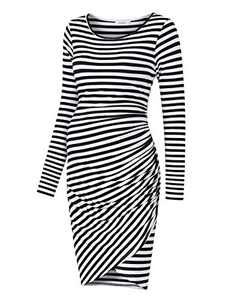 Coolmee Womens Maternity Dresses Casual Ruched Long Sleeve Irregular Bodycon Mini Dress for Women (S,BlackW-Long)