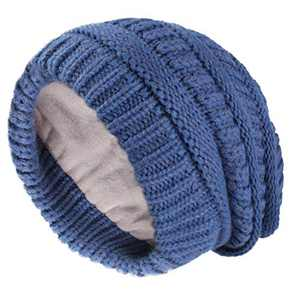 Camptrace Winter Hats for Women Knit Slouchy Hat Warm Soft Fleece Lined Chunky Thick Skull Ski Cap Beanie for Women Dark Blue