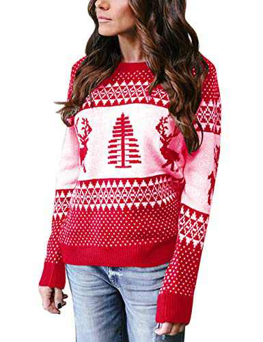 Cogild Women's Ugly Christmas Sweater,Pullover Sweaters Pattern Xmas Tree and Reindeer Long Sleeve Crew Neck Knit Jumper Red