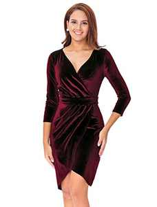 InsNova Women's Burgundy Long Sleeve Velvet Wrap Cocktail Dresses for Holiday Party New Year's Eve(X-Large)