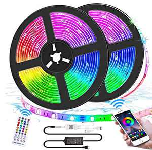 Bluetooth LED Lights Strips 32.8ft with APP Control, Music Sync Waterproof Flexible RGB Color Changing LED Strips Lights for Bedroom Room,LED Neon Tape Rope Lights with Remote for Gaming Mood Lighting