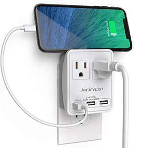 Wall Charger Outlet Extender 2 AC and 3 USB Ports JACKYLED International Power Adapter for Universal Multiple Devices Smart Phones Tablet Home Office Travel