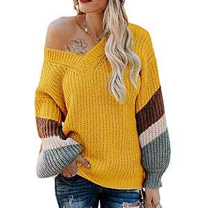 Exlura V Neck Long Lantern Sleeve Sweater Color Block Chunky Pullover Oversized Jumper Yellow