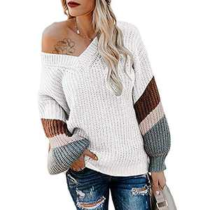 Exlura V Neck Long Lantern Sleeve Sweater Color Block Chunky Pullover Oversized Jumper Off White