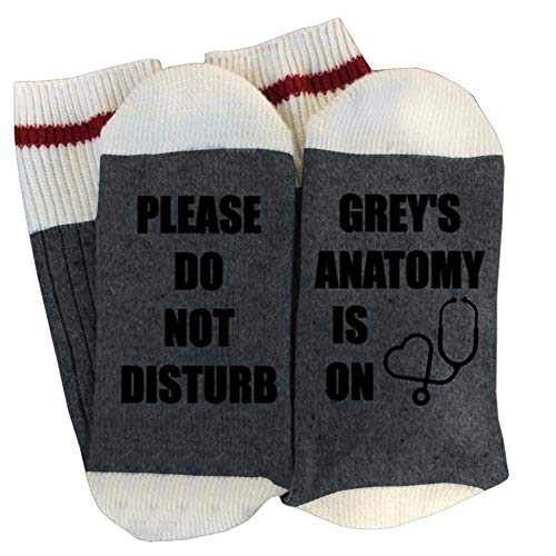 Women's Greys Anatomy Cotton Socks Novelty Funny Letter Printed Winter Warm Thick Kniting Socks Cozy Crew Socks