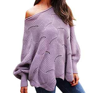 Byinns Oversized Pullover Sweater for Womens Off Shoulder Batwing Puff Sleeve Loose Hollow Out Casual Jumper Tops Purple