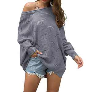 Byinns Oversized Pullover Sweater for Womens Off Shoulder Batwing Puff Sleeve Loose Hollow Out Casual Jumper Tops Grey