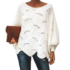 Byinns Oversized Pullover Sweater for Womens Off Shoulder Batwing Puff Sleeve Loose Hollow Out Casual Jumper Tops White