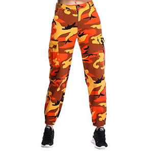 ZODLLS Women's Camo Pants Cargo Trousers Cool Camouflage Pants Elastic Waist Casual Multi Outdoor Jogger Pants with Pocket(Orange,Medium)