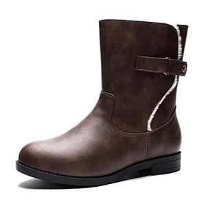 GUCHENG Women's Mid Calf Winter Snow Boots Comfortable Warm Zipper Leather Combat Boots (7 M US, Brown)