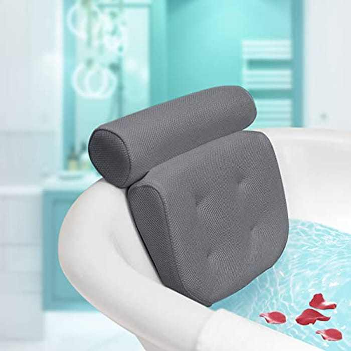 Essort Bath Pillow Luxury Waterproof Bath Neck Pillow Bath Headrest Pillow 3D Mesh Bath Pillow with Non-Slip Suction Cups Bath Neck Cushion Bath Cushion for Head Bathtub, Jacuzzi Grey 36x33x10.5cm