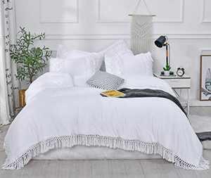 "SexyTown- White Ruffle Tassel Comforter Set,Queen Boho Fringe Bedding with Pillow Shams 3PCS Ultra Soft and Fluffy (Queen(Comforter 90""×90"")"