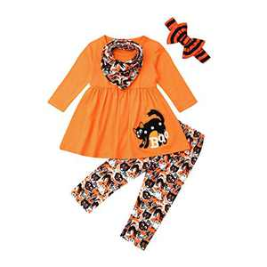 Toddler Little Girls Ruffle Flare Tunic Dress Top Striped Leggings Pants 2PC Fall Winter Outfit Set Clothes (1-2T, Orange +Cat)