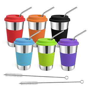 Rommeka Stainless Steel Cups, 16oz Pint Tumblers with Straw and Lid Eco-Friendly Stackable Metal Drinking Glasses for Adults, Children, Toddlers, Kids (6 Pack)