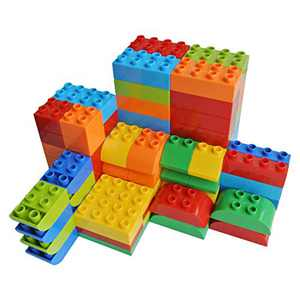 YHW CMKidz Large Building Bricks 100 Pieces Set, 8 Classic Shapes, Compatible with Duplo, for Toddler, Kids, Multiple Colors