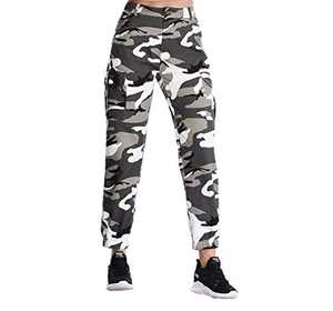 ZODLLS Women's Camo Pants Cargo Trousers Cool Camouflage Pants Elastic Waist Casual Multi Outdoor Jogger Pants with Pocket(Gray,XXX-Large)