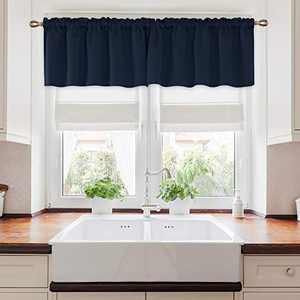 Deconovo Rod Pocket Curtain Thermal Insulated Blackout Curtains Light Blocking Curtian for Half Window 52Wx24L Inch Navy Blue 2 Panels
