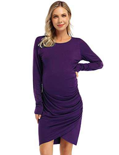 Coolmee Womens Maternity Dresses Casual Ruched Long Sleeve Irregular Bodycon Mini Dress for Women (S,Purple-Long)