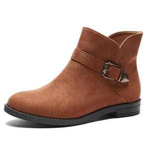 GUCHENG Women's Chelsea Ankle Boots - Low Heel Western Combat Booties(6 M US, Camel)