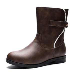 GUCHENG Women's Mid Calf Winter Snow Boots Comfortable Warm Zipper Leather Combat Boots (8.5 M US, Brown)
