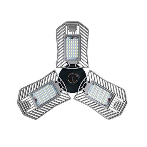 80W LED Garage Light, Deformable Led Tri-Light Garage Ceiling Light Fixture, Low & High Bay LED Light Bulbs with 8000LM 3000K Warm White Color for Shops, Basement,Home Indoor Lighting (NOT Daylight)