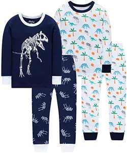 Dinosaurs Pajamas for Boys Toddler Kids Grow in The Dark Pyjamas Children 4 Pieces Sleepwear Pants Set 4t