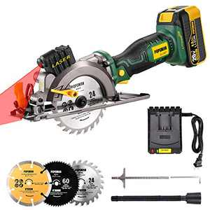 """POPOMAN 20V Max 4-1/2"""" Cordless Circular Saw, 4.0Ah Battery,4,500RPM Compact Circular Saw with Laser, Fast Charger, 3 Blades for Wood, Plastic, Soft Metal and Tile Cuts - MTW510B"""