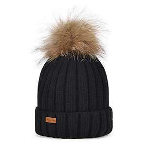 PELLIOT Women's Winter Warm Knit Hat Bobble Pom Pom Beanie Baggy Crochet Ski Cap Ladies Chunky Soft Knitted Hat Black