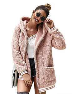 LOMON Cardigan for Women Oversized Fuzzy Fleece Long Sleeve Open Front Hooded Jacket Coat Winter Outwear with Pockets(Pink,S)