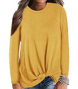 Gognia Women's Casual Tunic Top Long Sleeve Knot Waffle Knit T-Shirt Twist Blouse Yellow XXL
