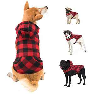 Idepet Dog Winter Coat, Plaid Dog Warm Jacket, Plaid Dog Hoodie with Hat, Pet Clothes Sweaters for Small Medium Large Dogs, Dog Plaid Shirt, Red, L