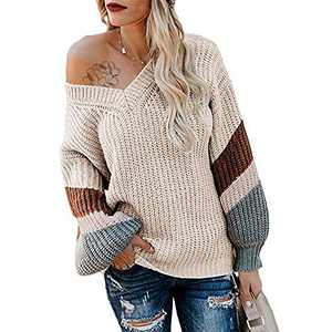 Exlura V Neck Long Lantern Sleeve Sweater Color Block Chunky Pullover Oversized Jumper Apricot