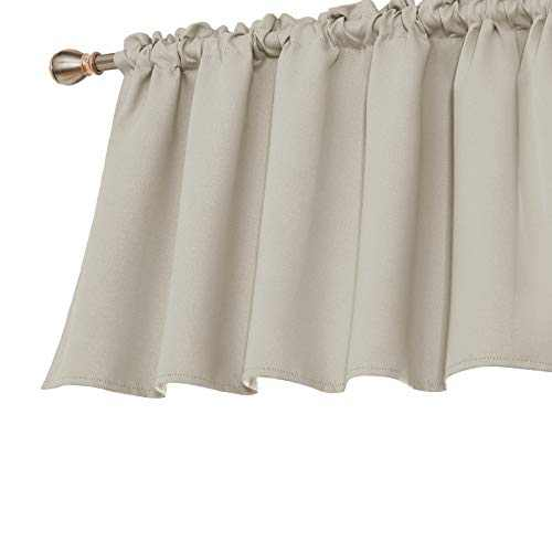 Deconovo Decorative Light Blocking Textured Embossed Rod Pocket Blackout Curtain Valances for Living Room Window 52x36 Inch Beige 1 Panel