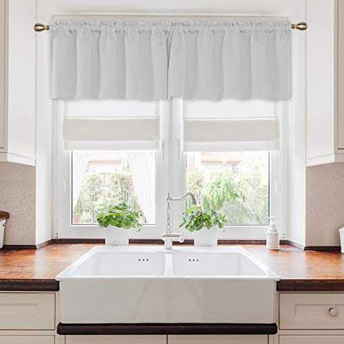 Deconovo Rod Pocket Curtain Blackout Curtain Light Blocking Room Darkening Thermal Insulated Curtains for Kids Room 52Wx24L Inch Greyish White 2 Panels