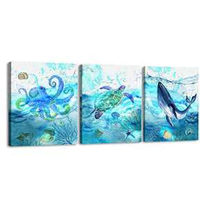 3 Pieces Canvas Wall Art Animal Painting Canvas Prints for Kids Room Bathroom Bedroom Living Room Wall Decoration Sea Animals Modern Art Sea Turtle Octopus Whale Boys Girls Gifts (12x16inx3)