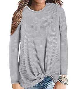 Gognia Women's Casual Tunic Top Long Sleeve Knot Waffle Knit T-Shirt Twist Blouse Grey XXL