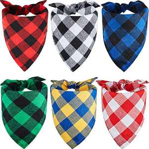 6 Pieces Plaid Dog Bandanas Dog Summer Bandanas Pets Triangle Bibs Reversible Dog Kerchief Adjustable Washable Bandanas for Dog Cat Pet