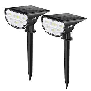 JESLED Solar Landscape Spot Lights, Outdoor Lighting 14 LED Solar Powered Spotlights Dusk to Dawn, Bright White, IP67 Waterproof Landscaping Yard Lights for Garden Pathway Walkway Porch Patio 2-Pack